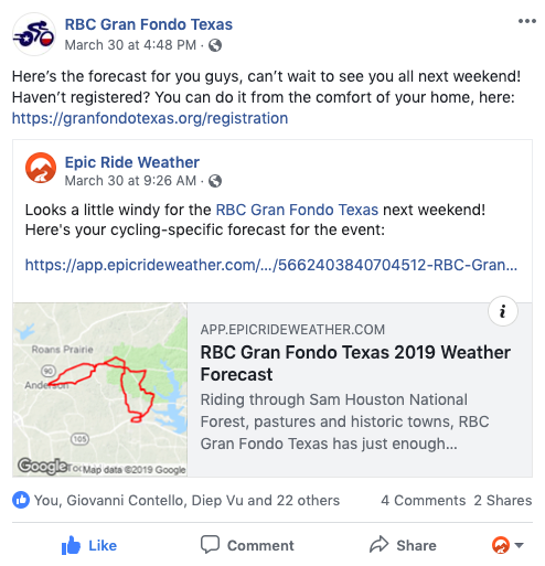 Epic Ride Weather Sponsors The Weather for Your Event